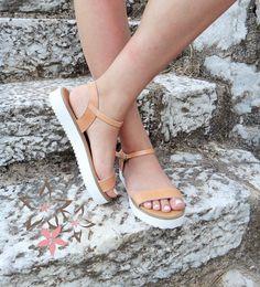 Demeter Sandals / Genuine Greek Leather / High Quality Natural Color / Slingback Slides Strap Sandals / Stripes Handmade Leather Sandals
