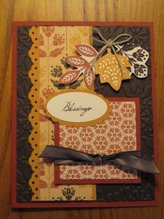 Handmade Thanksgiving Fall Blessings Card Leaves Leaf Mom Dad Grandmother Sister Brother Stampin Up