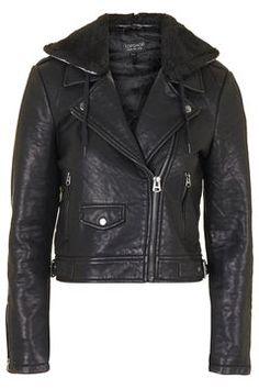 Faux Leather Hooded Biker Jacket