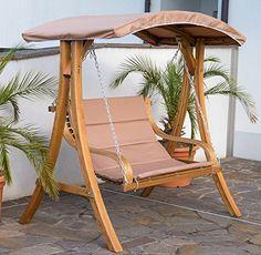 Design Hollywoodschaukel Gartenschaukel Hollywoodliege Doppelliege Aus Holz  Lärche Mit Dach Modell BELIZE Von AS S