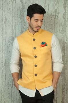 multicolored pocket square, mustard yellow nehru jacket , butter yellow jacket
