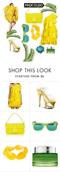"""Fashion in Rio"" by virginiagerbasi ❤ liked on Polyvore featuring Halston, Pleaser, Fendi, Earth, Kim Rogers and Lancôme"