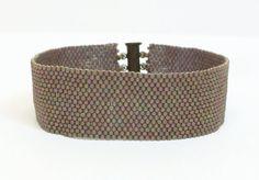 Contemporary Beadwoven Cuff Bracelet of Matt by RubyMoonBeadweaver