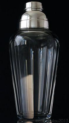 Cocktail Shaker 1950s Mid century Vintage Cut crystal glass Silver plated Cobbler Martini shaker Barware Bar cart