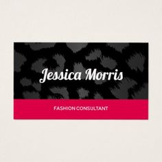 Silver Metallic Leopard Fashion Consultant Business Card - hair stylist gifts business cyo diy custom create
