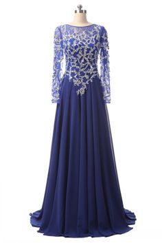 Royal blue chiffon long sleeves round neck beading see-through long evening  dresses 9fe36c1455ad