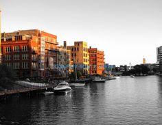 A photo of sunset in Milwaukee's third ward along the Milwaukee river. #handmade #madeinamerica #americanmade #sepiaphotography #Milwaukee #ThirdWard www.aftcra.com