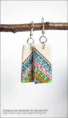 Zentangle earrings hand painted geometric rectangle by SweetlyART, $15.00
