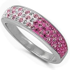 Elegant Round Pink & Light Pink Topaz .925 Sterling Silver Ring Sizes 6-10