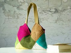 Multicoloured crocheted bag
