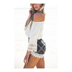 Yoins Off Shoulder Top & Bohemia Pattern Shorts Co-ord (36 BAM) ❤ liked on Polyvore featuring lace two piece