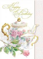 Happy Birthday Greeting Card China Tea Pot and Cup with Pink Roses by Carol Wilson Fine Arts. $3.99. Embossed with hand sculpted dies