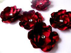 handmade fabric flowers  http://www.etsy.com/listing/86544417/satin-crimson-red-fabric-layered-flower