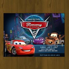 Discover recipes, home ideas, style inspiration and other ideas to try. Free Printable Party Invitations, Birthday Party Invitations, Invitation Cards, Invitation Templates, Lego Birthday Party, Cars Birthday Parties, Birthday Ideas, Car Themed Parties, Lightning Mcqueen