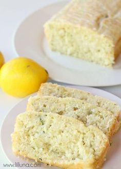 Delicious Glazed Lemon Zucchini Bread Recipe on { lilluna.com } So moist! Ingredients include lemon juice, lemon zest, and grated zucchini with a lemony glaze!