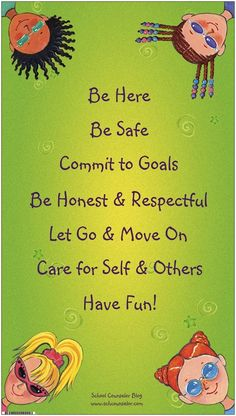 """Group """"Rules"""" and office expectation banner.  The """"group rules"""" banner is for more than just groups. The rules on this banner make great rules for a school counseling office . Students can refer to them and """"remind"""" each other of the rules ;). Visit School Counselor Blog for more innovative ideas, creative lessons, and quality resources. ($15.00)"""