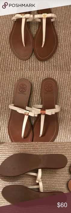 Tory Birch white bow sandals Only worn once Tory Burch sandals. Size 9 Tory Burch Shoes Sandals