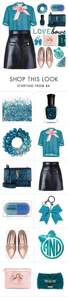 """""""I love bows"""" by katymill ❤ liked on Polyvore featuring Deborah Lippmann, Home Decorators Collection, Alcoolique, Yves Saint Laurent, MSGM, Sarah's Bag, Ted Baker and Amenapih"""