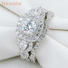 Newshe 2 Pcs Genuine 925 Sterling Silver Halo Wedding Ring Sets Engagement Band Gift Jewelry For Women Size Ship From US Engagement Bands, Engagement Wedding Ring Sets, Engagement Ring Settings, Wedding Ring Bands, Sterling Silver Wedding Rings, Sterling Silver Jewelry, Silver Ring, 925 Silver, Cubic Zirconia Wedding Rings