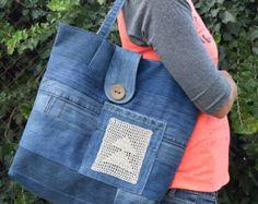 Boho Bag / Denim Tote / Denim Handbag / Grocery Bag / Market Bag / Tote Bag / Denim Bag / Decorated Denim Tote