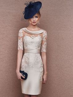 Sheath/Column Bateau 1/2 Sleeves Lace Knee-Length Satin Mother Of The Bride Dresses at Jolly Feel