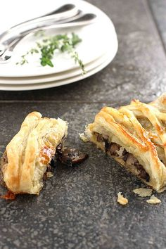 Three Mushroom, Camembert Cheese & Thyme Puff Pastry Strudel makes a great presentation for a party!