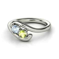 Sterling Silver Ring with Aquamarine & Peridot
