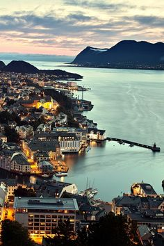 Sunset over the beautifully cute town Ålesund in Norway.