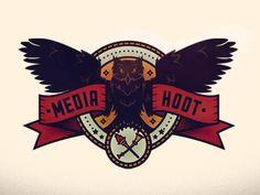 Media-hoot-color-1 Logo Branding, 1 Logo, Logo Design, Graphic Design, Retro Logos, Cool Designs, Darth Vader, Badges, Illustration