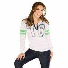 Touch By Alyssa Milano Seattle Seahawks Ladies Kickoff Lace-Up Long Sleeve T-Shirt - Cream