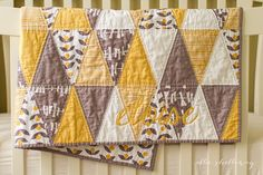 personalized triangle baby quilt