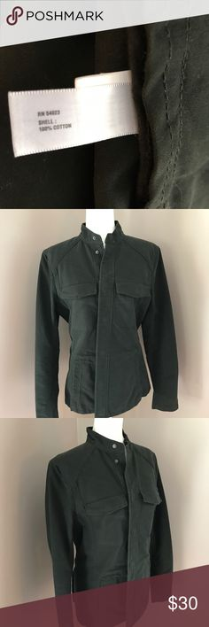 """Gap women's green snap Button utility jacket Excellent condition Green colored. 2 side pockets. Great for a casual day or even toss it on over a dress for a perfect style. Size small. 100% cotton material. Pit to pit 20"""" pit to hem 17 1/2"""" sleeve 25 1/5"""". Bin 4 GAP Jackets & Coats Utility Jackets"""