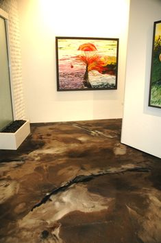 Around every corner is a work of art and metallic epoxy flooring. - Epoxy Floor Basement - Welcome Haar Design Wood Floor Design, Concrete Design, Stained Concrete, Concrete Floors, Screed Floors, Plywood Floors, Concrete Lamp, Concrete Countertops, Home Design