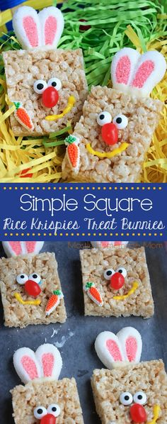 Simple Square Rice Krispies Treat Bunnies - No need to get super fancy for these fun treats! Just a few simple additions to everyone's favorite @ricekrispiesusa Treats create a yummy addition to your Easter basket gifts! #ad