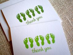 Set of 10 Thank You Cards: Keep it simple with these thank you cards. ~ each card measures x ~ front of card features a hand drawn Baby Thank You Cards, Baby Shower Thank You, Thank You Notes, Keep It Simple, New Baby Gifts, Footprint, Gender Neutral, Hand Drawn, New Baby Products