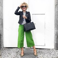 Love this look on Orla Sheridan, bright culottes with a Breton top leather biker jacket and leopard print shoes