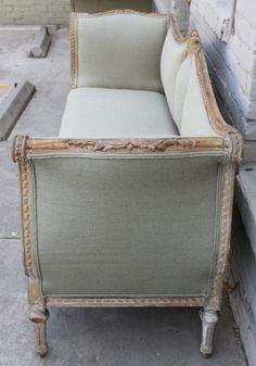 vintage burlap sofa | Vintage Upholstered French Sofa with Center Cartouche at 1stdibs