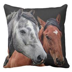 HORSE PILLOW.  BEAUTIFUL HORSES. FACE CLOSEUP THROW PILLOW - beautiful gift idea present diy cyo