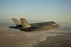 The F-35 Lightning II jet known as AF-7 arrives at Edwards Air Force Base, Calif., on Friday to begin its flight testing program.