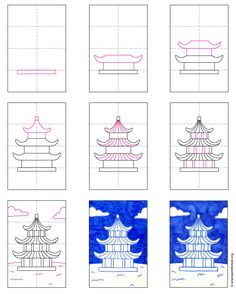 Easy Pagoda Painting · Art Projects for Kids - bigoltrucks China For Kids, Japan For Kids, Art Videos For Kids, Art Lessons For Kids, Japanese Drawings, Japanese Art, Art Drawings For Kids, Easy Drawings, School Art Projects
