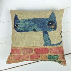 Blue Cat Cushion