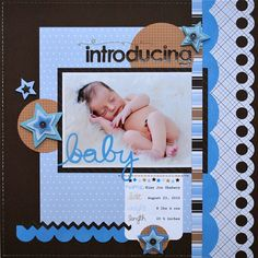 new arrival baby scrapbook page | pebbles supplies used new arrival boy special delivery 751066 new