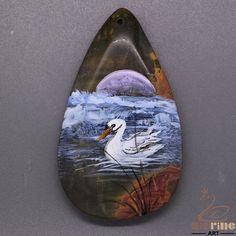 Pendant Hand Painted white Swan Natural Gemstone Stone necklaceZL805477 #ZL #Pendant