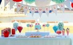 Turquoise & Red Race Car Theme for Boys 1st Birthday