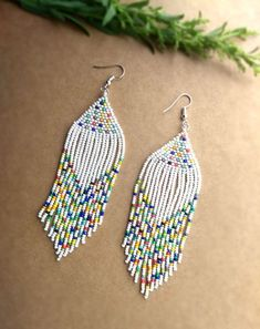 Fringe Seed Bead Earrings for Women, Earrings for Sensitive Ears, Long Fringe Earrings, Summer Earrings, Seed Bead Earrings Seed Bead Jewelry, Seed Bead Earrings, Fringe Earrings, Women's Earrings, Seed Beads, Earrings Online, Diy Jewelry, Jewelry Making, Beaded Earrings Patterns