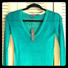 Reduced! 360 Cashmere sweater with thumbholes 100% cashmere. Thumb holes and distressed edge detailing. Lightweight and a beautiful color! Perfect for a windy spring day or chilly evening. 360 Cashmere Sweaters