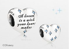 """A dream is a wish your heart makes"". The Disney Cinderella heart silver charm with fancy light blue cubic zirconia is a cute reminder that anything can happen as long as you believe. #PANDORAlovesDisney"