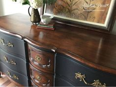 Vintage Furniture a new take on french provincial - You have to see this makeover! Refurbished Furniture, Paint Furniture, Repurposed Furniture, Shabby Chic Furniture, Furniture Makeover, Modern Furniture, Furniture Dolly, Furniture Outlet, Cheap Furniture