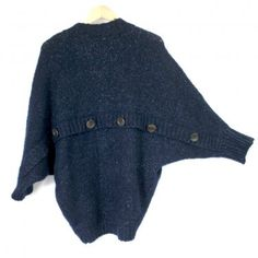 Olive & Oak Soft Fuzzy Navy Cocoon Sweater Batwing Sleeves Buttons Womens Size Medium (M) $20 with FREE shipping to US & Canada!