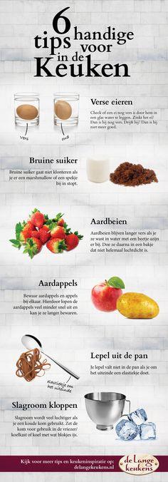 Bekijk onze handige infographic keukentips! Met deze 6 tips maak je het jezelf weer een stukje makkelijker in de keuken. De Lange Keukens